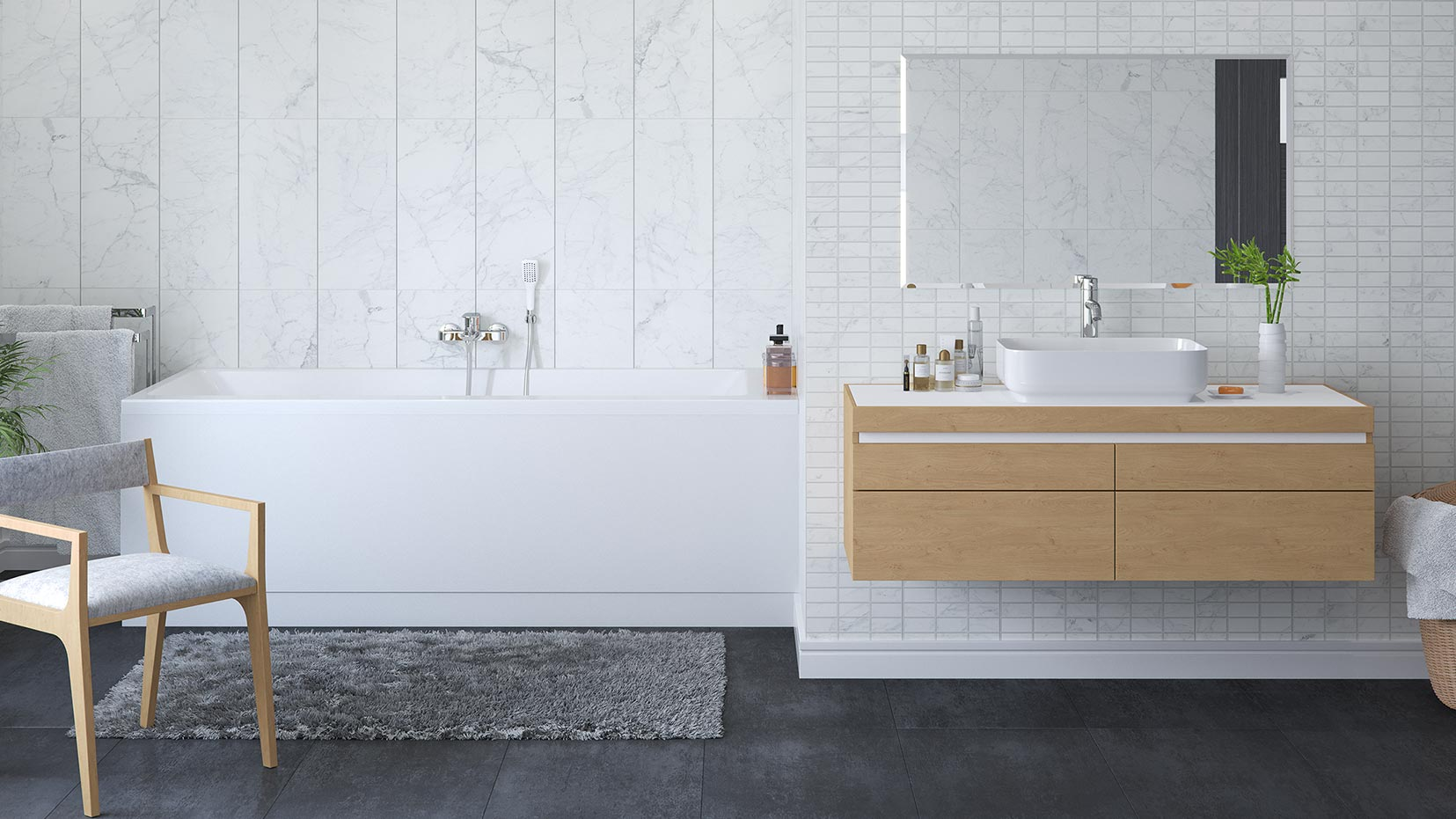 Carrara Tile Effect Decor