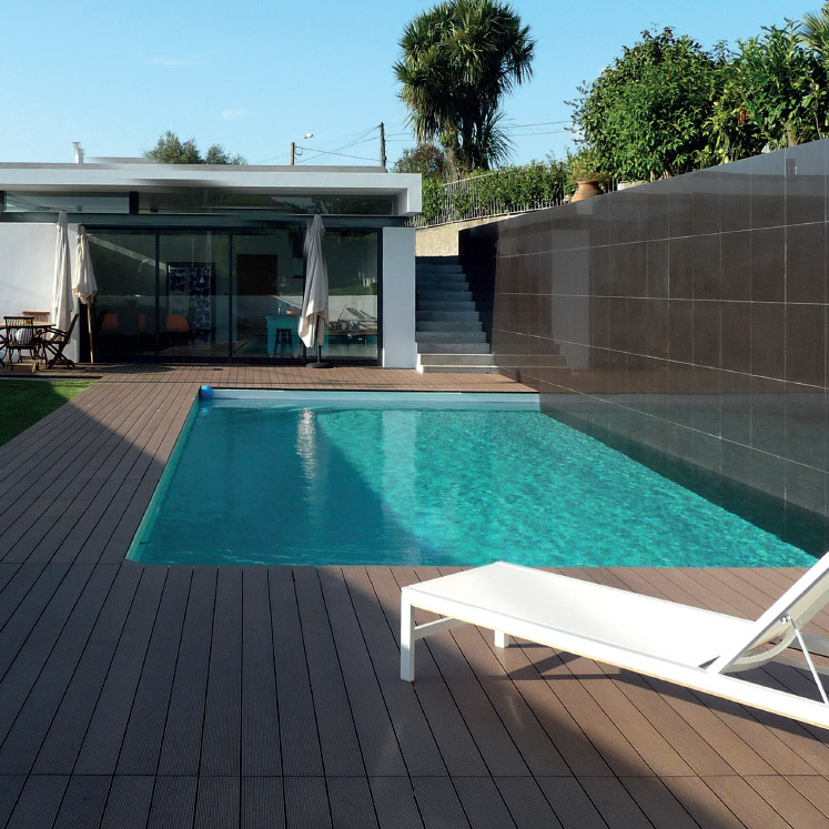 composite decking by pool