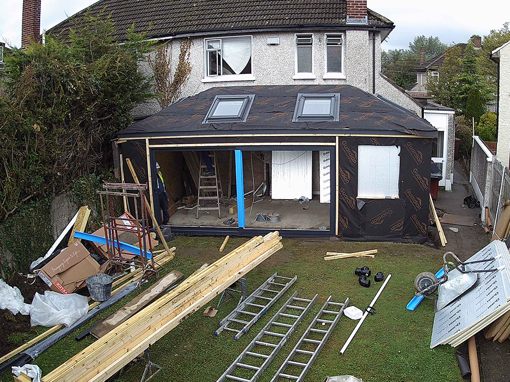 Guardian Home Extension Dublin - sliding door in place