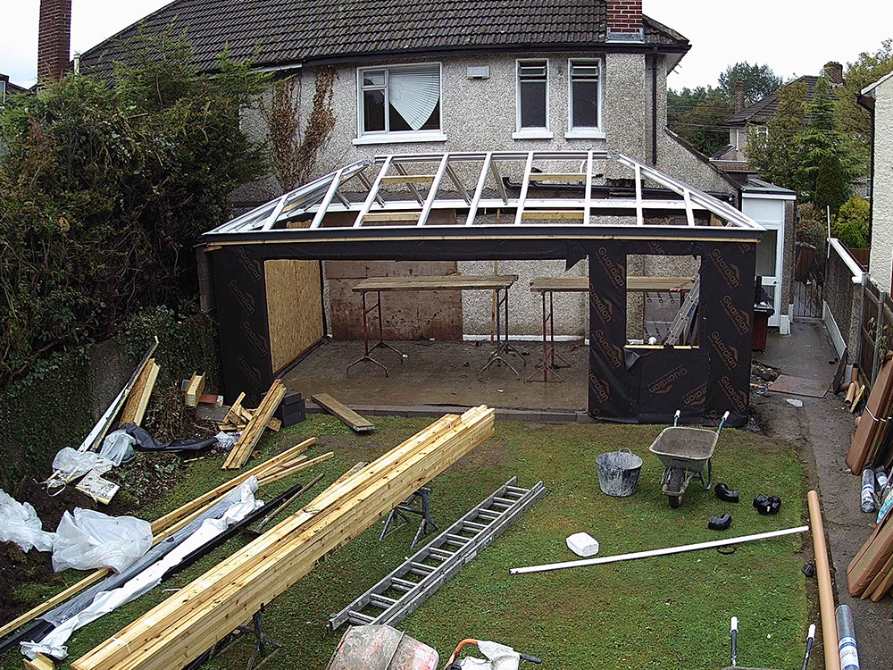 Guardian Home Extension Dublin - roof frame completed