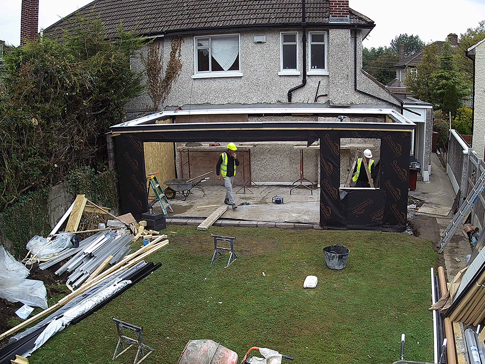 Guardian Home Extension - roof frame in place