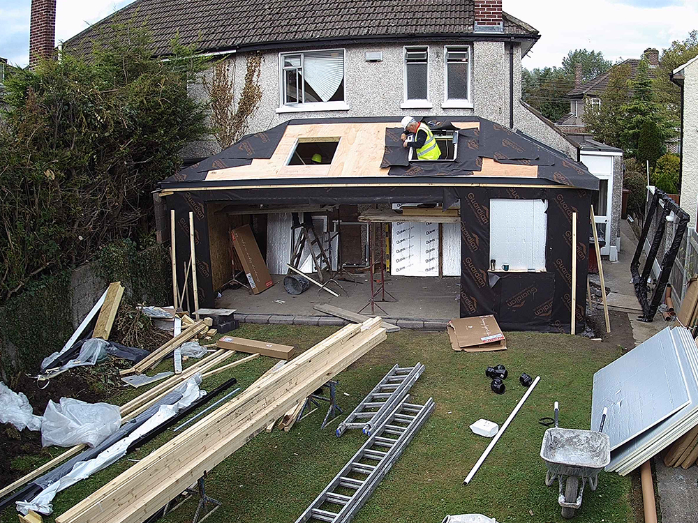 Guardian Home Extension Dublin - Velux roof windows being installed