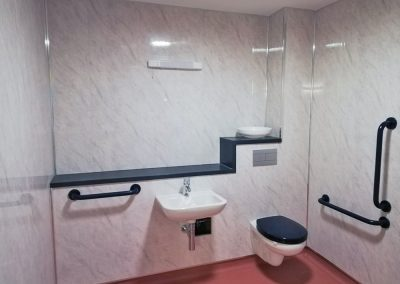 Toilet and Sink are transformed with bathroom panels
